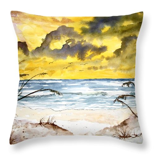Beach Throw Pillow featuring the painting Abstract Beach Sand Dunes by Derek Mccrea