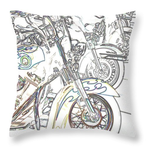 Motorcycle Throw Pillow featuring the photograph Abstract Bikes by Tom Gari Gallery-Three-Photography