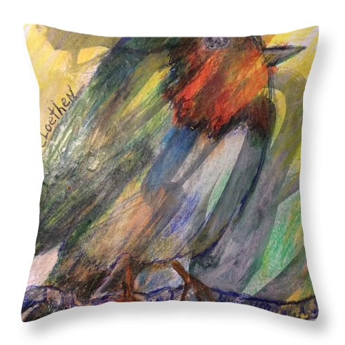 Mixed Media Throw Pillow featuring the mixed media Abstract Bird by Carol Loethen