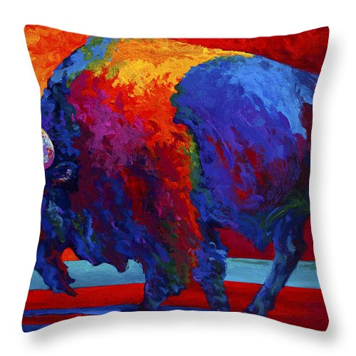 Bison Throw Pillow featuring the painting Abstract Bison by Marion Rose