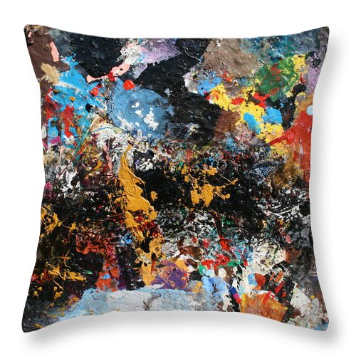 Abstract Oll Collage Blasting With Intense Color Explosion Blues Throw Pillow featuring the painting Abstract Blast by Melinda Saminski