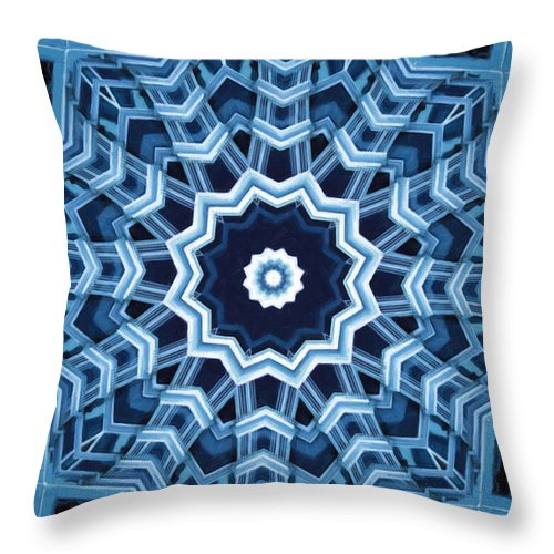 Abstract Throw Pillow featuring the digital art Abstract Blue 16 by David Wagner