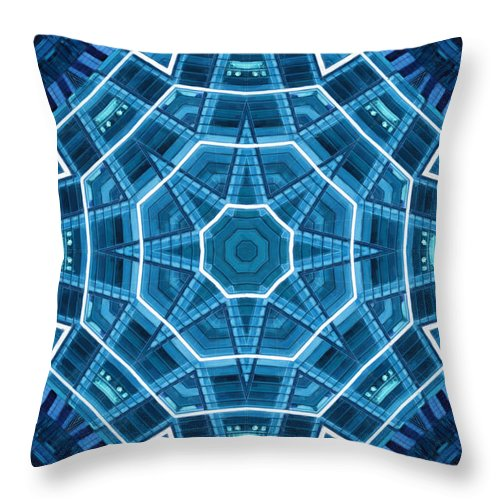 Abstract Throw Pillow featuring the digital art Abstract Blue 18 by David Wagner