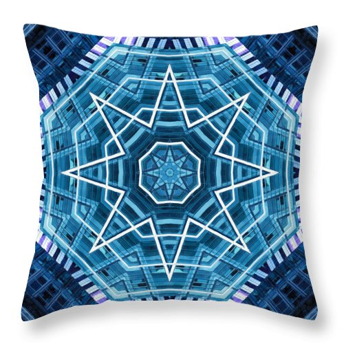 Abstract Throw Pillow featuring the digital art Abstract Blue 20 by David Wagner