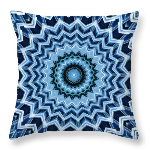 Abstract Throw Pillow featuring the digital art Abstract Blue 25 by David Wagner