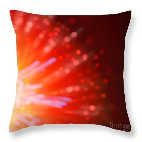 4th Of July Throw Pillow featuring the photograph Abstract Blur Firework Background by Anna Om