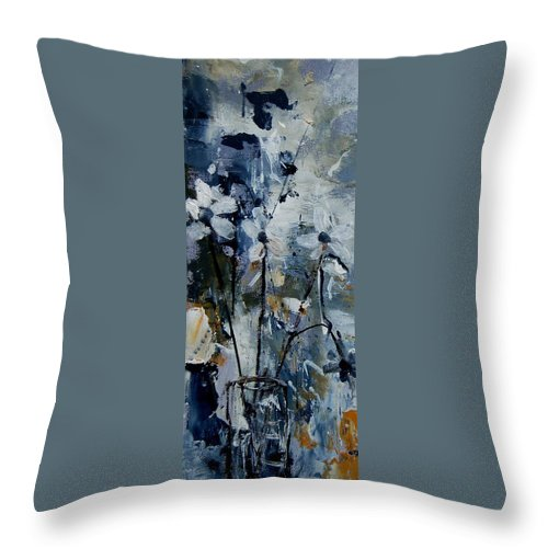 Abstract Throw Pillow featuring the painting Abstract Bunch Of Flowers by Pol Ledent