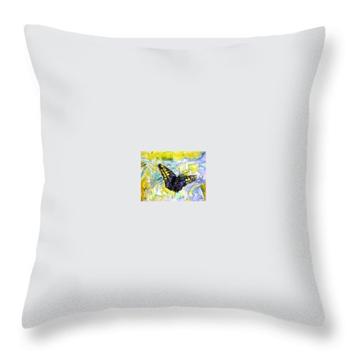 Abstract Throw Pillow featuring the painting Abstract Butterfly by Derek Mccrea