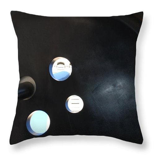 Button Throw Pillow featuring the photograph Abstract Button Holes by Rob Hans
