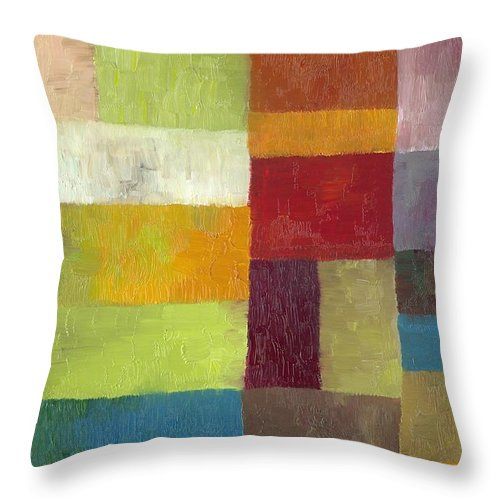 Abstract Throw Pillow featuring the painting Abstract Color Study Lv by Michelle Calkins
