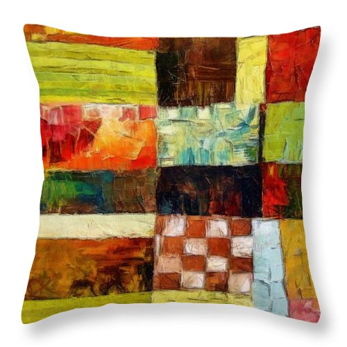 Patchwork Throw Pillow featuring the painting Abstract Color Study With Checkerboard And Stripes by Michelle Calkins