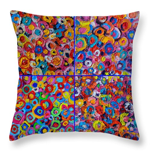 Abstract Throw Pillow featuring the painting Abstract Colorful Flowers 4 by Ana Maria Edulescu