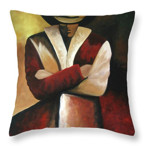 Throw Pillow featuring the painting Abstract Cowboy by Lance Headlee