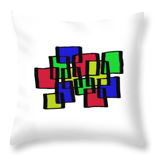 Abstract Cubicles Throw Pillow featuring the digital art Abstract Cubicles by Priscilla Wolfe