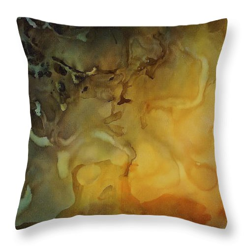Large Abstract Design Throw Pillow featuring the painting Abstract Design 1 by Michael Lang