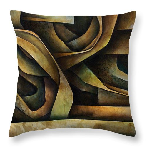 Abstract Art Throw Pillow featuring the painting Abstract Design 10 by Michael Lang