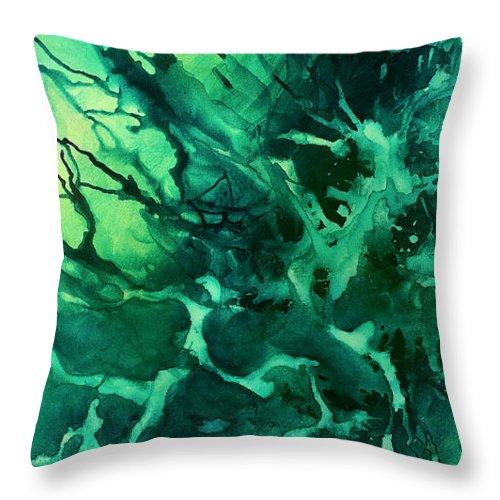 Throw Pillow featuring the painting Abstract Design 37 by Michael Lang