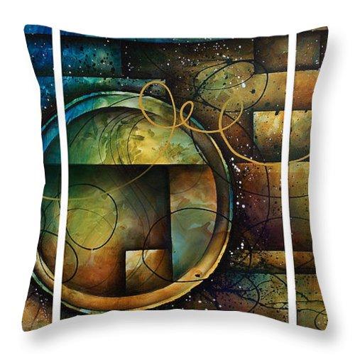 Large Original Painting Abstract Design Throw Pillow featuring the painting Abstract Design 4 by Michael Lang