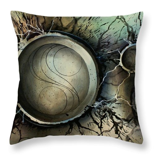 Abstract Design Blues Grays Browns Circles Spheres Round Modern Contemporary Decor Design Throw Pillow featuring the painting Abstract Design 45 by Michael Lang