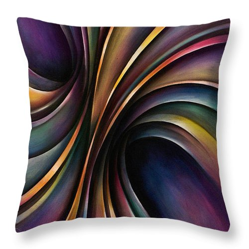 Chromatic Colorful Ribbon Multicolor Throw Pillow featuring the painting Abstract Design 55 by Michael Lang