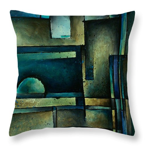 Geometric Cubist Blue Aqua Teal Tirquois Throw Pillow featuring the painting Abstract Design 56 by Michael Lang
