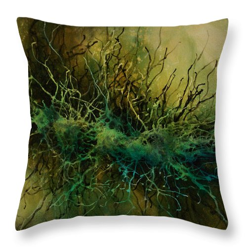 Abstract Throw Pillow featuring the painting Abstract Design 69 by Michael Lang