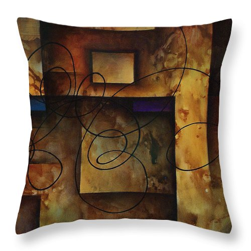 Abstract Art Throw Pillow featuring the painting abstract design B by Michael Lang