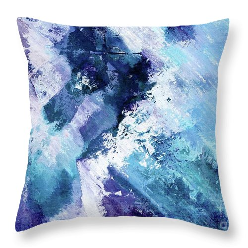 Blue Throw Pillow featuring the digital art Abstract Division - 72t02 by Variance Collections
