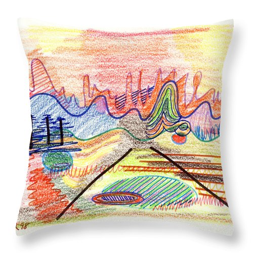Abstract Throw Pillow featuring the drawing Abstract Drawing Five by Lynne Taetzsch