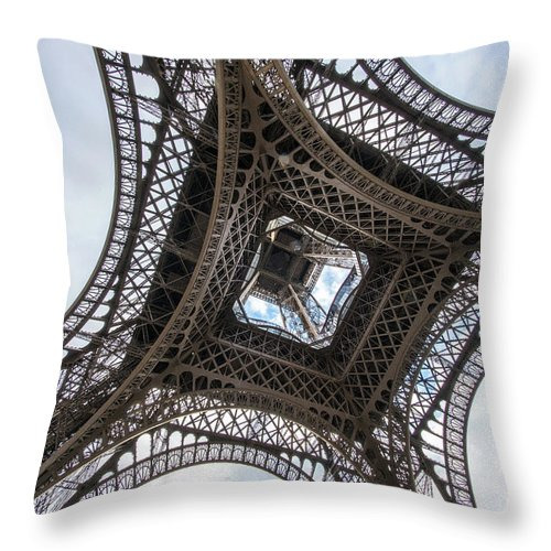 Paris Throw Pillow featuring the photograph Abstract Eiffel Tower Looking Up 2 by Mike Reid