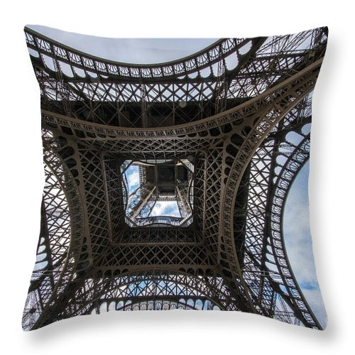 Paris Throw Pillow featuring the photograph Abstract Eiffel Tower Looking Up by Mike Reid