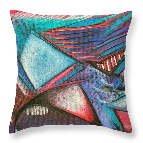 Pastel Throw Pillow featuring the pastel Abstract Expressive 001 by Joe Michelli