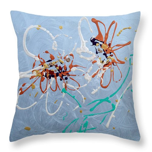 Abstract Throw Pillow featuring the painting Abstract Flowers 2 by Gina De Gorna