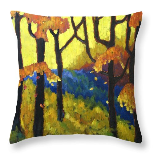 Art Throw Pillow featuring the painting Abstract Forest by Richard T Pranke