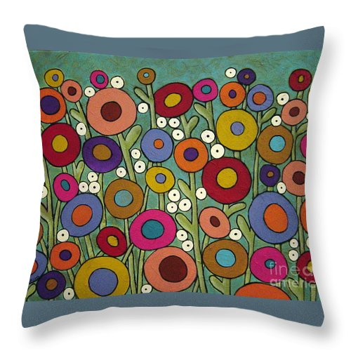 Flowers Throw Pillow featuring the painting Abstract Garden by Karla Gerard