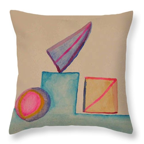 Abstract Throw Pillow featuring the painting Abstract Geometry by Natalee Parochka