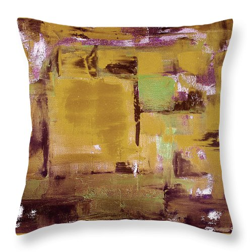 Abstract Throw Pillow featuring the painting Abstract by Gina De Gorna