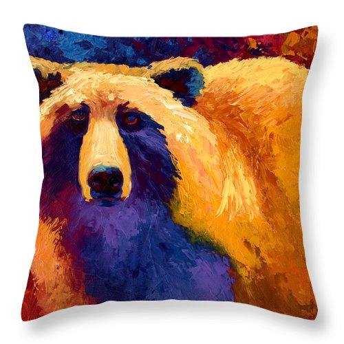 Western Throw Pillow featuring the painting Abstract Grizz II by Marion Rose