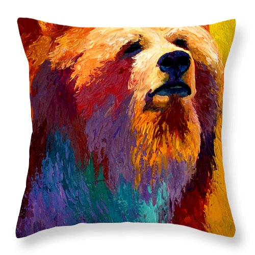 Western Throw Pillow featuring the painting Abstract Grizz by Marion Rose