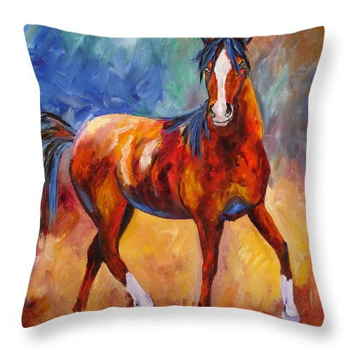 Horse Throw Pillow featuring the painting Abstract Horse Attitude by Mary Jo Zorad