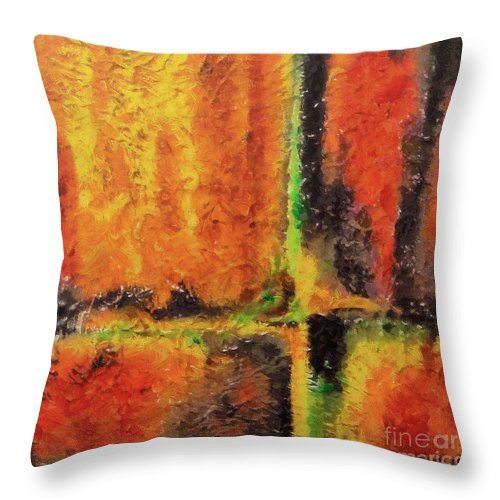 Abstract Throw Pillow featuring the mixed media abstract I by Dragica Micki Fortuna