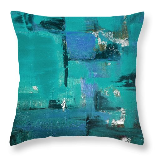 Abstract Throw Pillow featuring the painting Abstract In Blue by Gina De Gorna