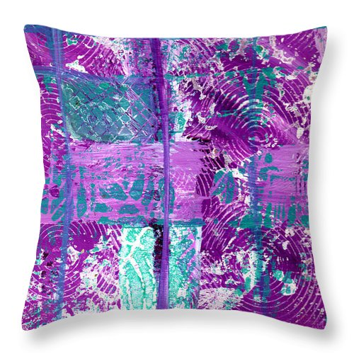 Abstract Throw Pillow featuring the painting Abstract In Purple And Teal by Wayne Potrafka