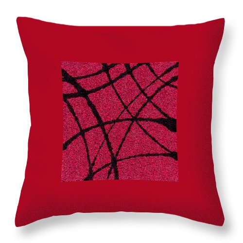 Abstract Throw Pillow featuring the painting Abstract In Red And Black by Wayne Potrafka