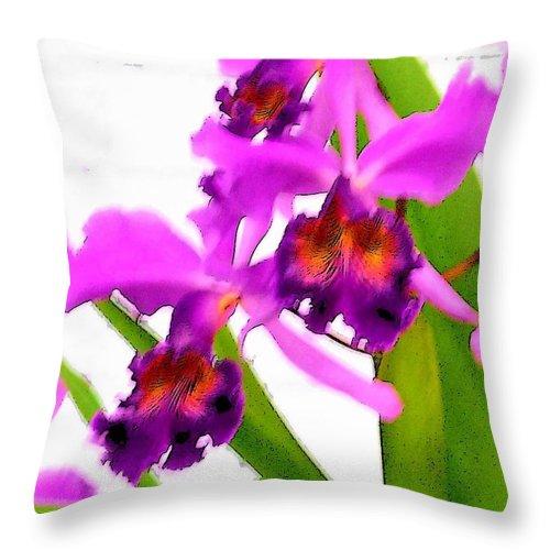 Flowers Throw Pillow featuring the digital art Abstract Iris by Anita Burgermeister