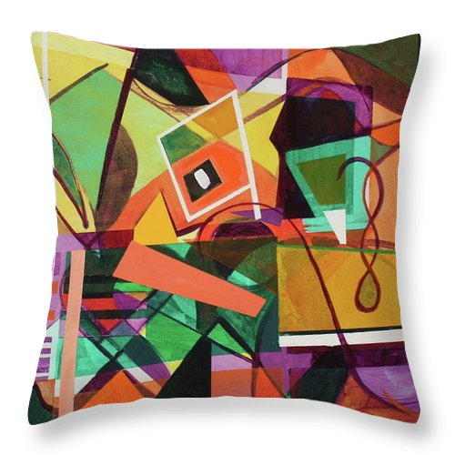 Abstract Throw Pillow featuring the painting Abstract July 2017 by Rollin Kocsis