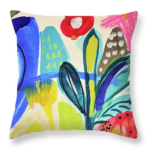 Art Throw Pillow featuring the painting Abstract Jungle And Wild Flowers by Amara Dacer