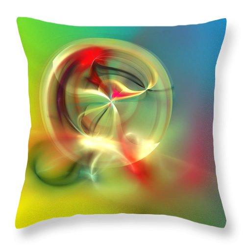 Fine Art Throw Pillow featuring the digital art Abstract Karma Wheel by David Lane