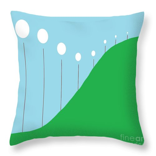 Abstract Throw Pillow featuring the painting Abstract Landscape Lights On The Hill by Eloise Schneider Mote