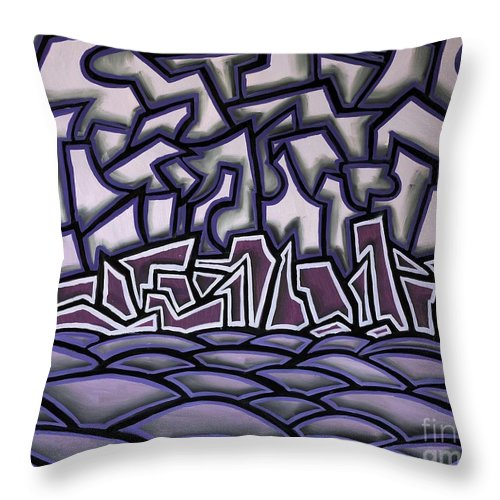 Landscape Throw Pillow featuring the painting Abstract Landscape by Thomas Valentine